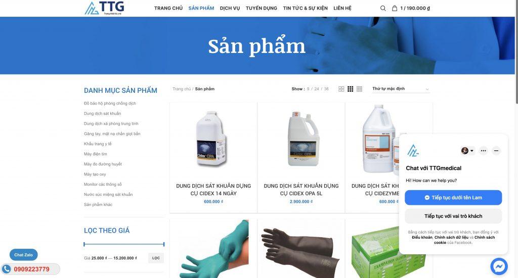Mẫu website cung cấp vật tư y tế chuẩn SEO