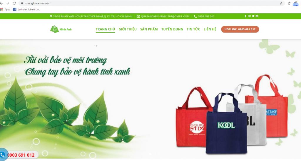 Mẫu web kinh doanh xưởng túi vải