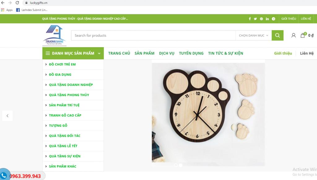 Mẫu website kinh doanh Quà tặng phong thủy
