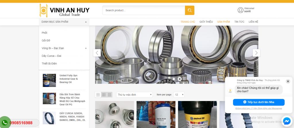 Mẫu website bán hàng vòng bi bạc đạn chuẩn SEO tphcm