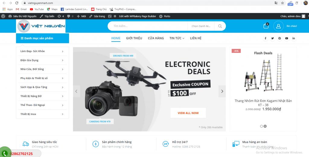 Mẫu website thương mại điện tử Vietnguyenmart chuẩn SEO