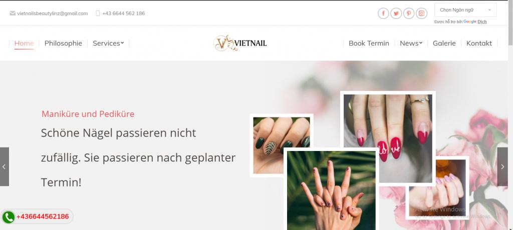 Mẫu giao diện website tiệm làm móng tại Áo nhiều ngôn ngữ