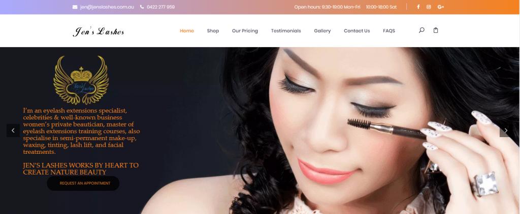Mẫu website dịch vụ nối mi chuyên nghiệp tại nước ngoài