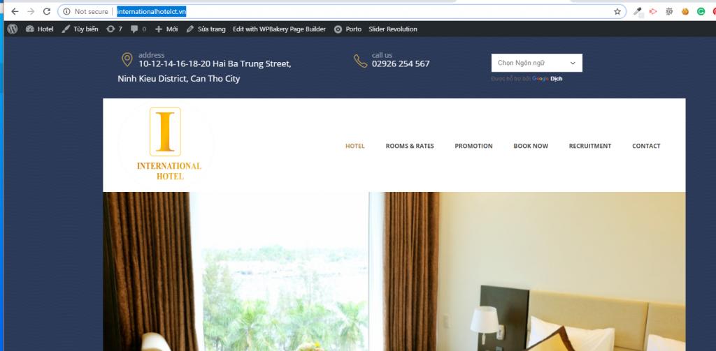 Mẫu Website khách sạn Quốc Tế tại Cần Thơ
