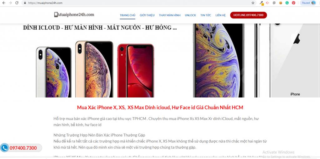 Mẫu website thu mua iPhone dịch vụ unlock điện thoại