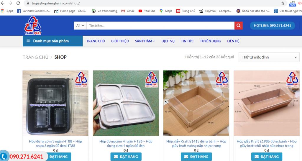 Mẫu Website cung cấp hộp đựng bánh sử dụng 1 lần