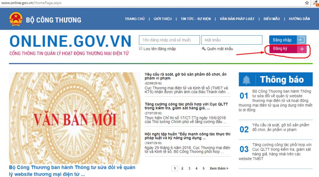 website của Bộ Công Thương