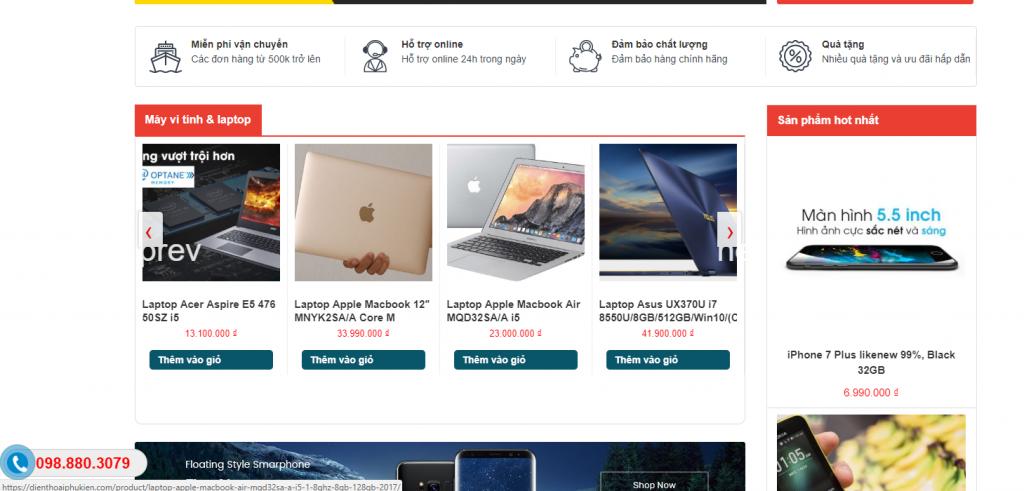 Mẫu web bán hàng điện thoại phụ kiện chuyên nghiệp chuẩn SEO