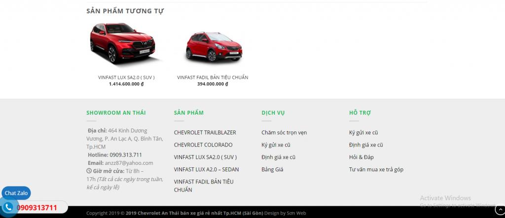 Mẫu website bán xe ô tô doanh nghiệp An Thái