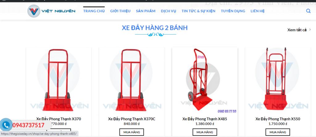 Mẫu website bán hàng Thế giới xe đẩy hàng chuẩn SEO