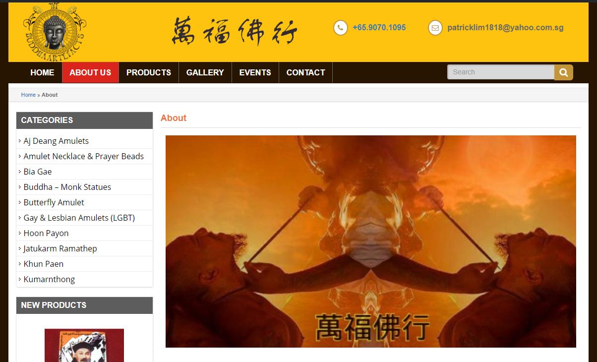 Mẫu website cửa hàng buôn bán bùa Thailand tại Singapore