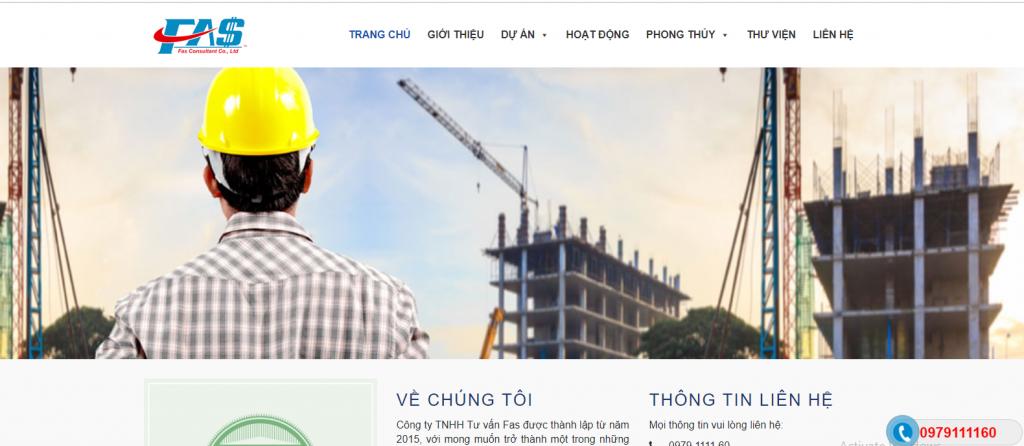 Mẫu website Công ty xây dựng công trình