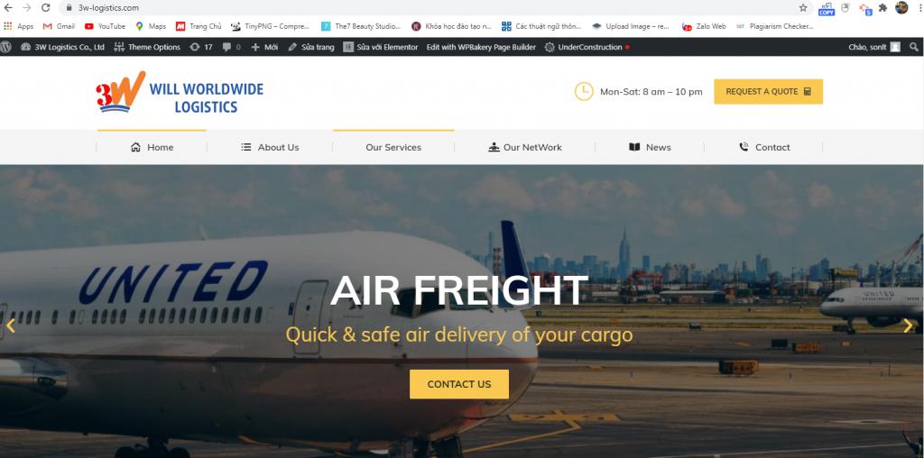 Mẫu thiết kế website công ty vận tải chuyên nghiệp