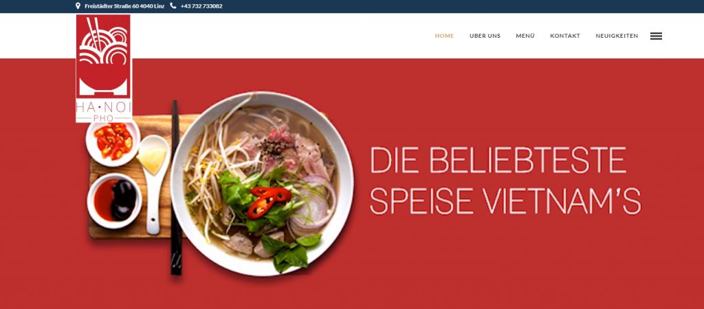 Trang chủ Mẫu website tiệm Phở tích hợp thực đơn đặt hàng trực tuyến tại Áo