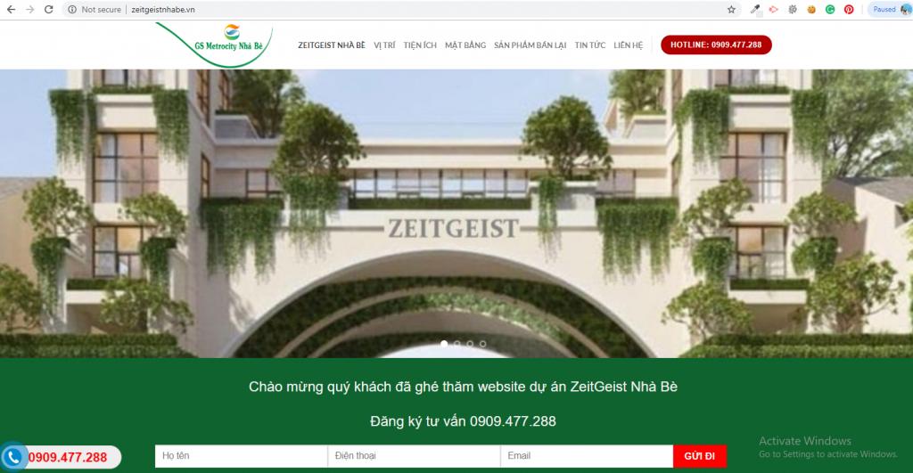 Mẫu website Dự án bất động sản ZeitGeist Nhà Bè