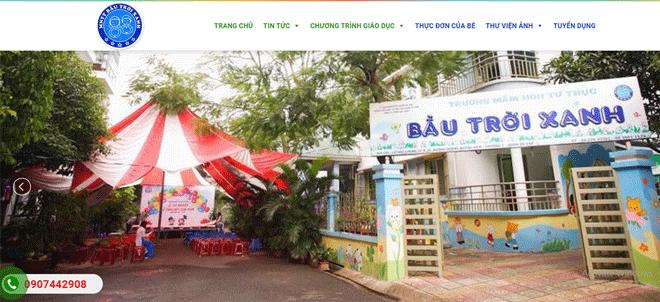 Mẫu website trường tư thục mầm non Bầu Trời Xanh quận Gò Vấp