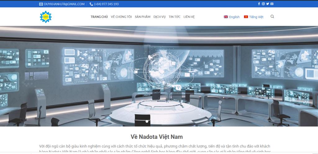 Mẫu website đa ngôn ngữ công ty phân phối các sản phẩm Công nghệ Sinh học