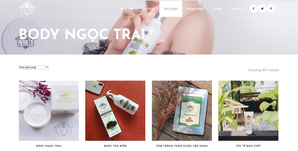 Mẫu Website giới thiệu sản phẩm chăm sóc da