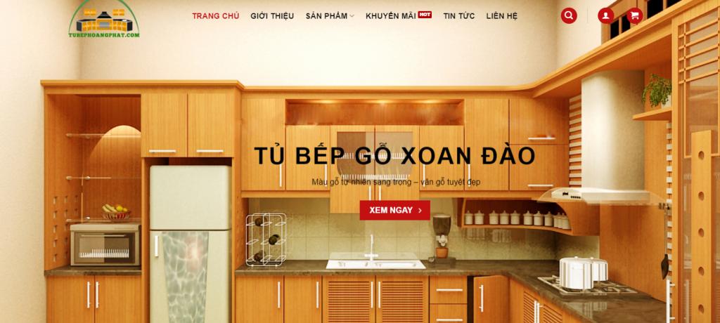 Mẫu website bán hàng tủ bếp nội thất