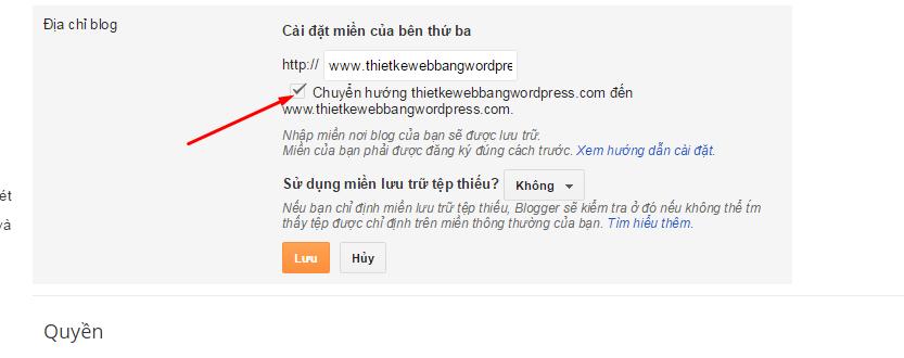 chuyen huong domain trong blogspot
