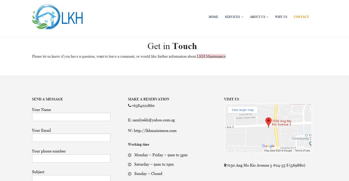 Mẫu website Công ty Vệ sinh môi trườngLKH maintenance Pte Ltd
