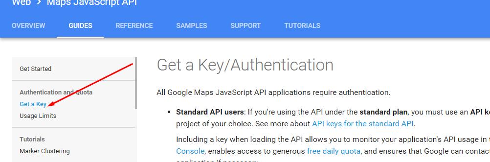 get a key google map api
