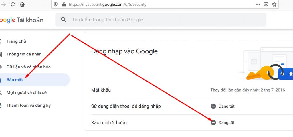 Chọn xác minh 2 bước cho gmail
