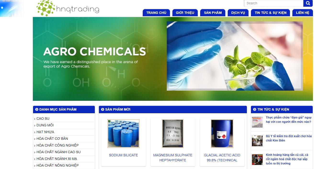 Mẫu website công ty bán hóa chất tại tp hcm