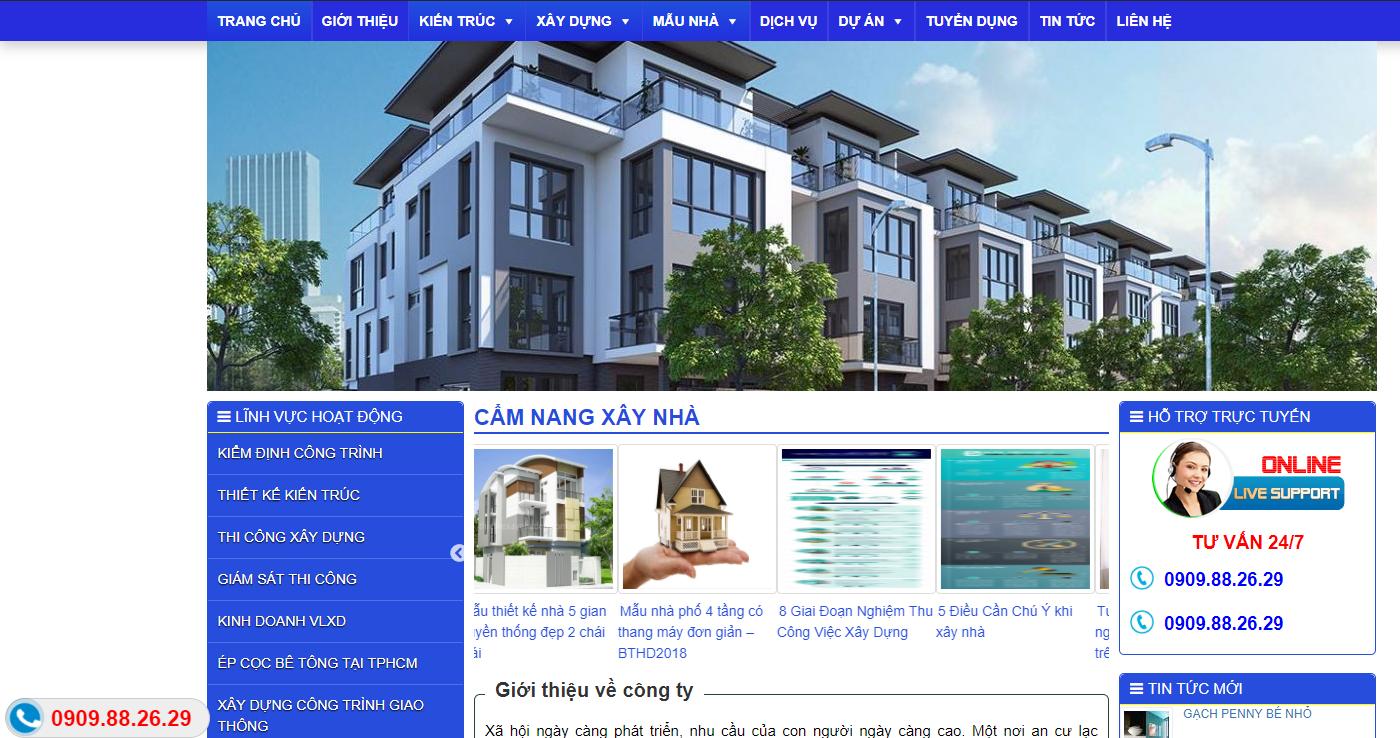 Mẫu web công ty thiết kế đầu tư và xây dựng