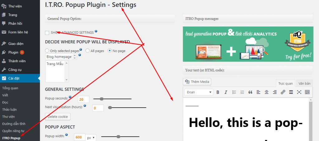 Cấu hình plugin itopopup2