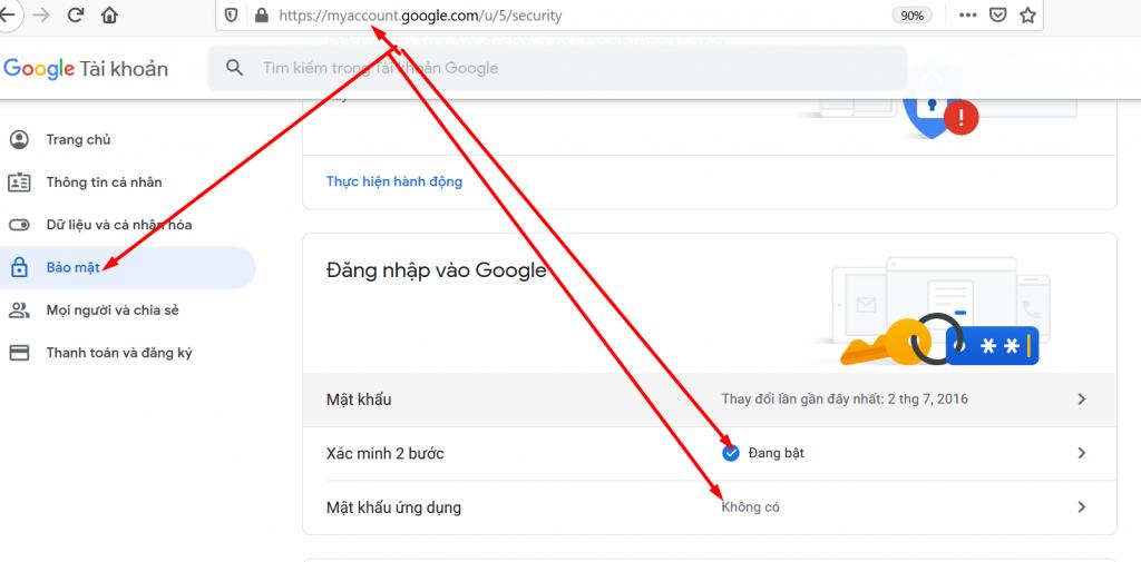 Chọn tạo mật khẩu ứng dụng gmail
