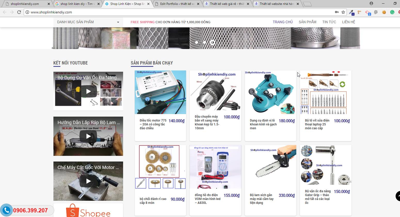 Mẫu website bán hàng linh kiện cơ khí