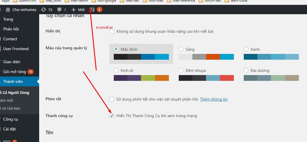 ẩn hiện menu bar admin website wordpress
