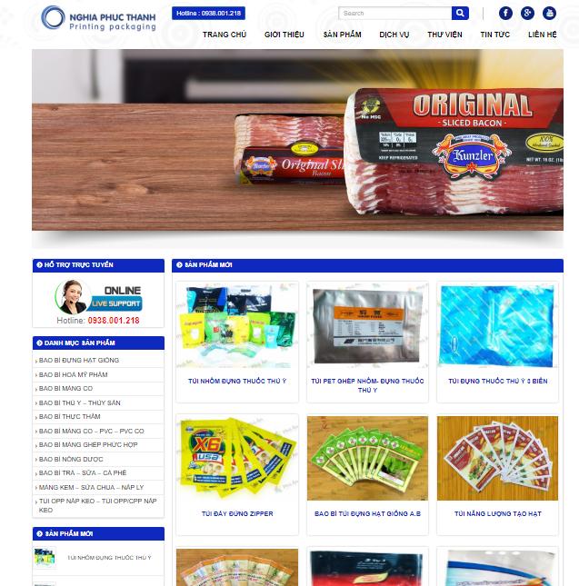 Mẫu website thiết kế in ấn bao bì nhựa đẹp ấn tượng