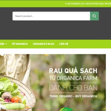 Mẫu website bán hàng thực phẩm hữu cơ rau sạch