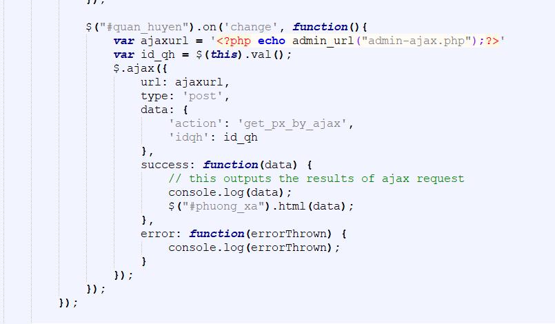 hướng dẫn ajax trong wordpress với select