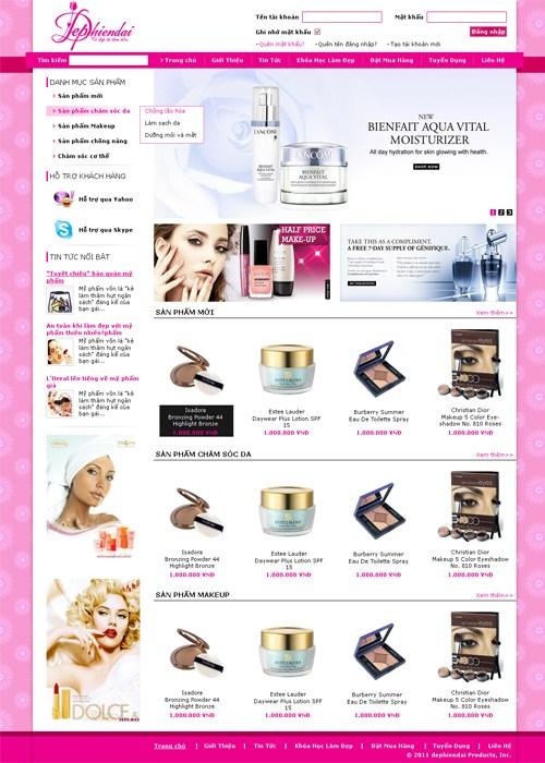 Thiết kế web mỹ phẩm giá rẻ