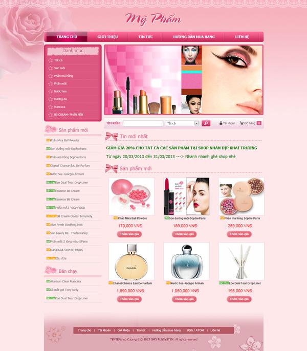 Thiết kế web shop mỹ phẩm online chuyên nghiệp